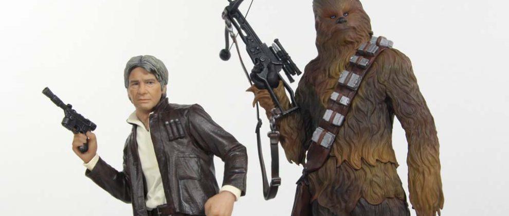 Han Solo and Chewbacca Star Wars The Force Awakens Kotobukiya ArtFX+ Statue 2 Pack Review